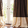 Chocolate Linen with Eggshell Linen Border and Cartridge Pleat