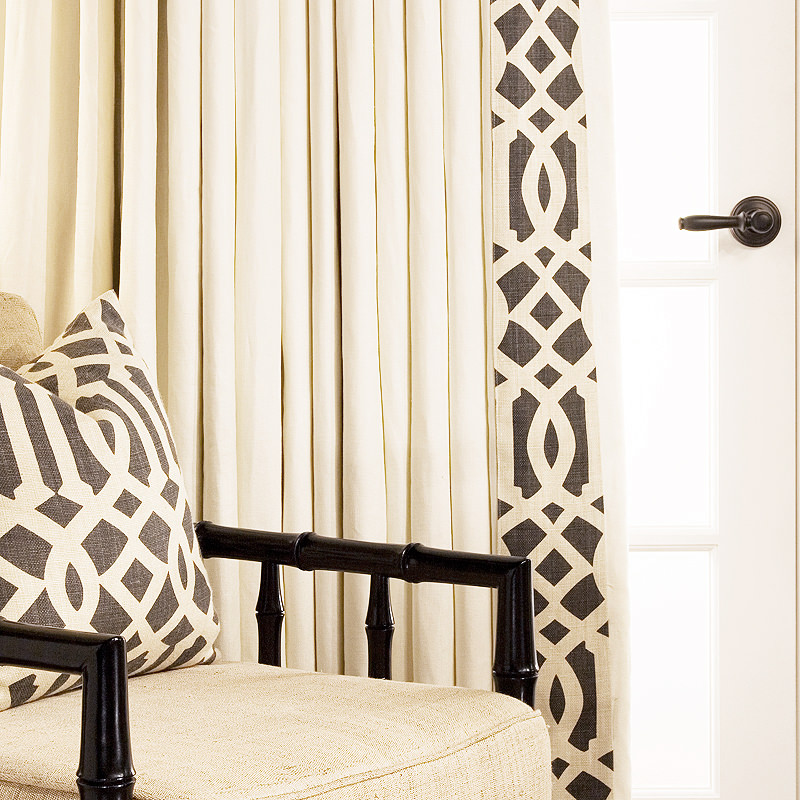 Estate Belgian Linen in Ecru with Schumacher Trellis Midnight Edge-Band
