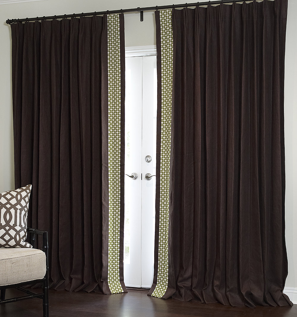 Estate Belgian Linen in Chocolate with Edge-Band in Celerie Kemble Betwixt - Pinch Pleat