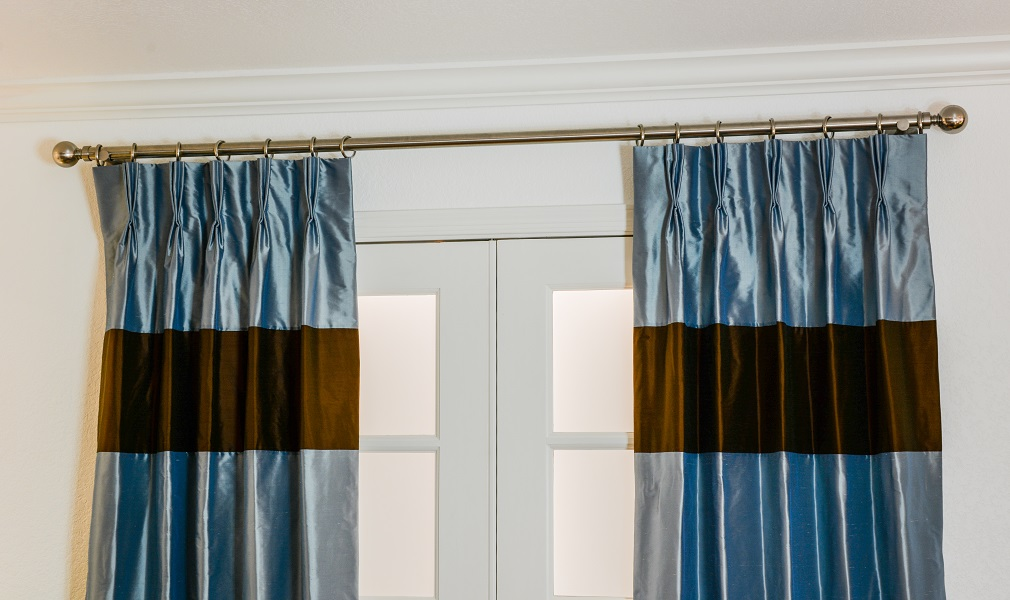 Shown: The Fairmont Drape in French Blue w/ Chocolate Banding & Pinch Pleat