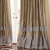 Double Bordered Contempory Custom Drapes in Pebble + Chrome