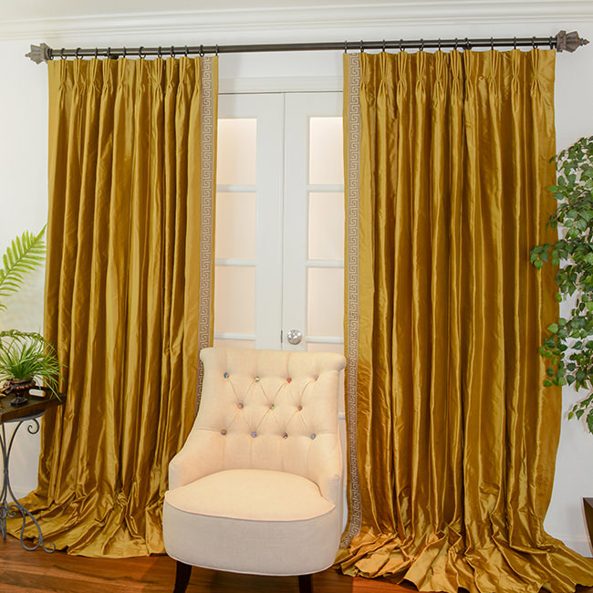 Custom Drapery in Antique Gold with Earth Greek Key