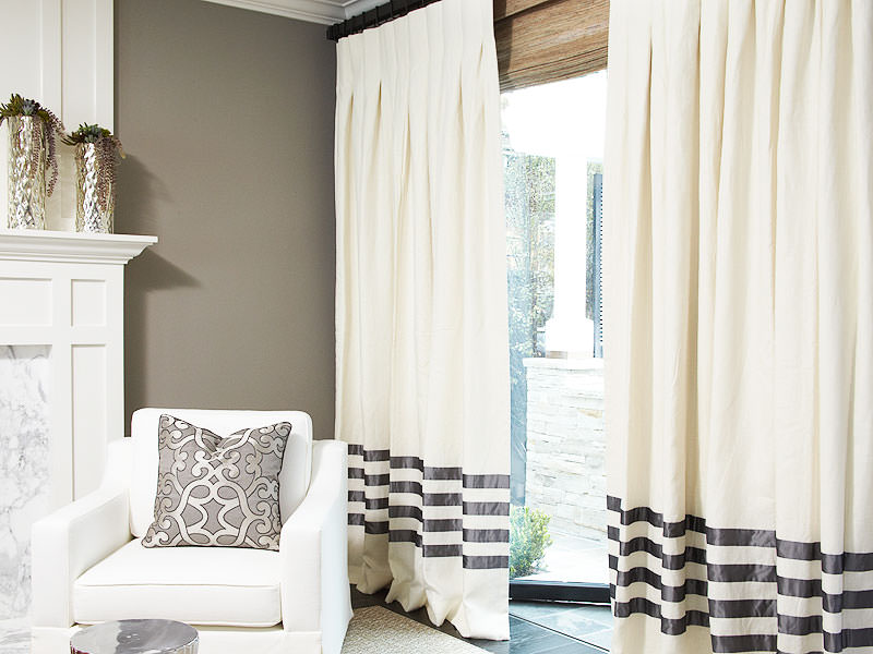 The Linen Hotel Drape in Eggshell with Charcoal Banding and Inverted Pleat