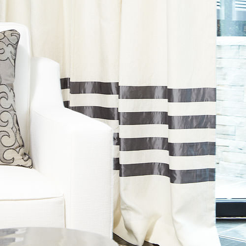 The Linen Hotel Drape in Eggshell with Charcoal Banding