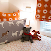 Vern Yip's Collection of Fabrics Pillow in Dogs Grey