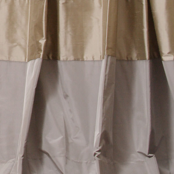 Pebble Dupioni with Pewter Taffeta Border