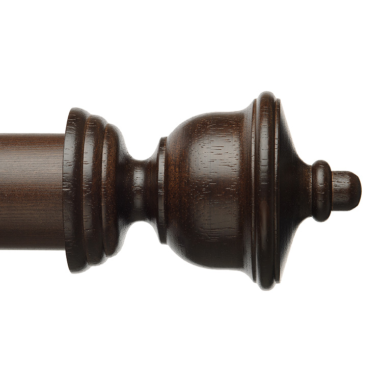 Classic Wood Roman Finial in Dark Walnut