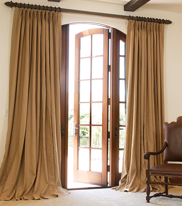 Classic Custom Linen Drapery In Leather With French Pleat