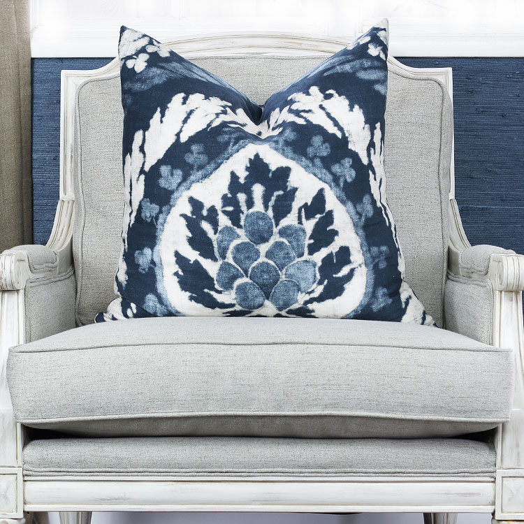 Custom Pillow in Schumacher Abaza Resist - Indigo
