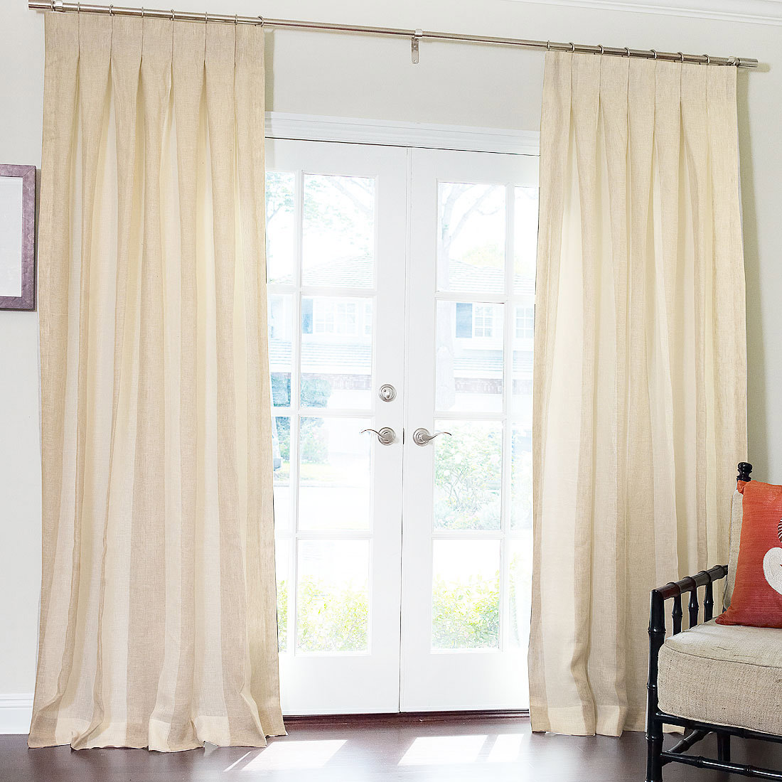 Pure Wide Stripe Sheer Linen Drapery with Inverted Pleat