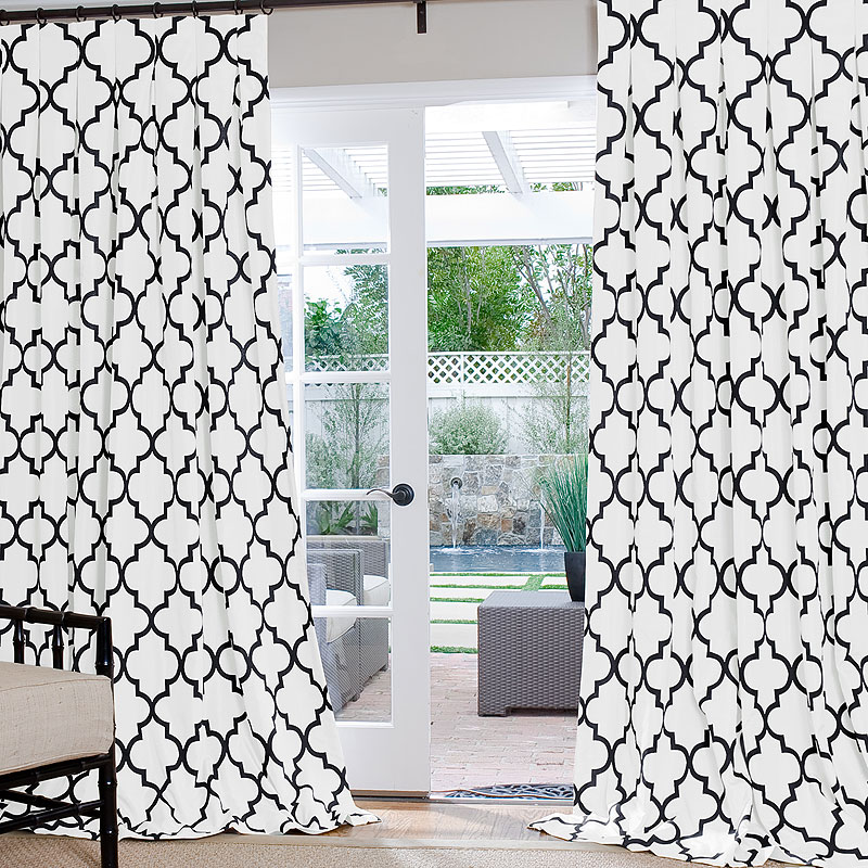 Iron Gate Black and White Custom Drapes with Inverted Pleat
