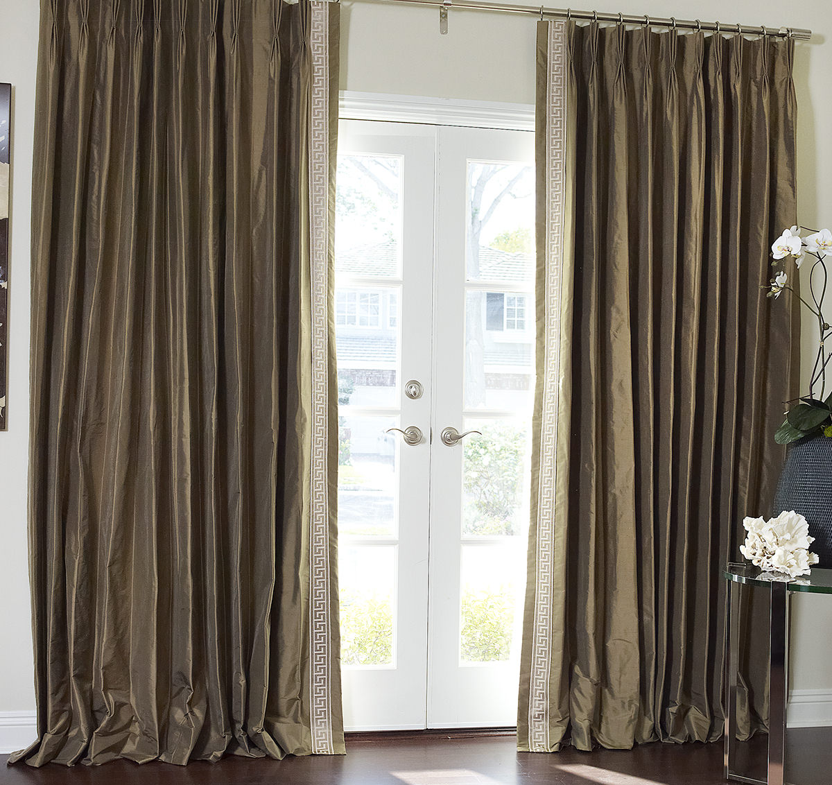 Greek Key Contemporary Custom Drapery in French Pleat