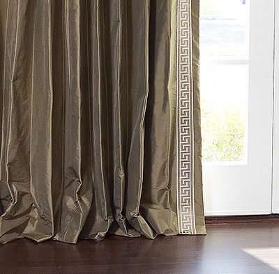 Greek Key Contemporary Custom Drapery in Chestnut