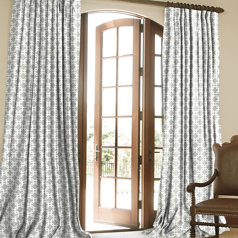 Link Grey Custom Contemporary Patterned Drapes In French Pleat