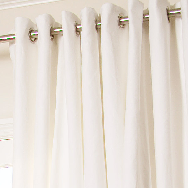 Manhattan Custom Linen Drapery in White with Matte Nickel Grommets
