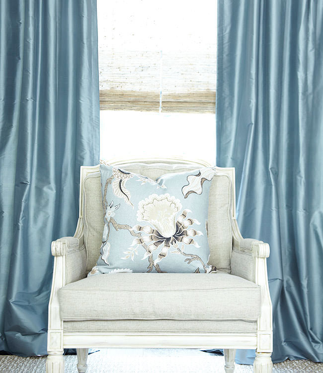 Custom Drapes in French Blue Dupioni Silk, Custom Pillow in Schumacher Hot House Mineral