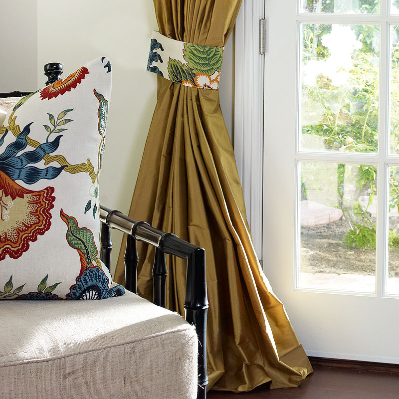 Antique Gold Custom Silk Drapery with Custom Tieback in Schumacher Hot House Spark