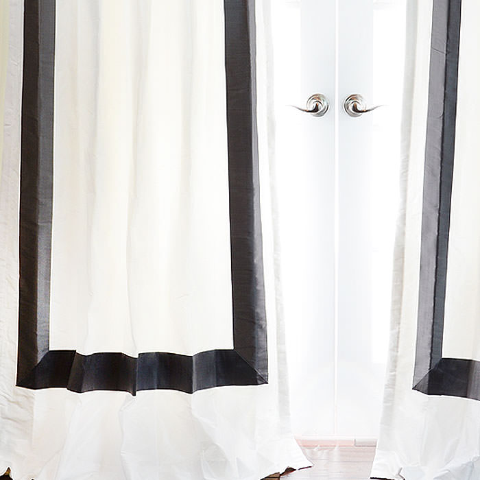 The Hotel Drape and Curtain in White with Black Banding
