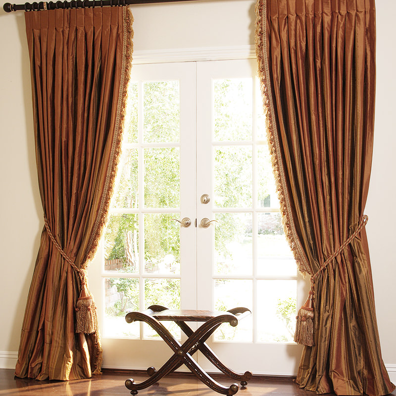 Roma Copper Dupioni Stripe with Sienna Cut Ball Fringe