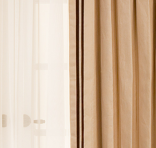 Sand Estate Linen Drapery with Velvet Ribbon in Sienna