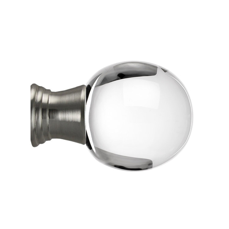 Toronto Globe Glass Finial in Brushed Nickel