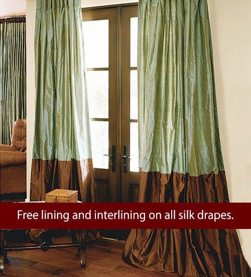Custom Bordered Silk Drapes
