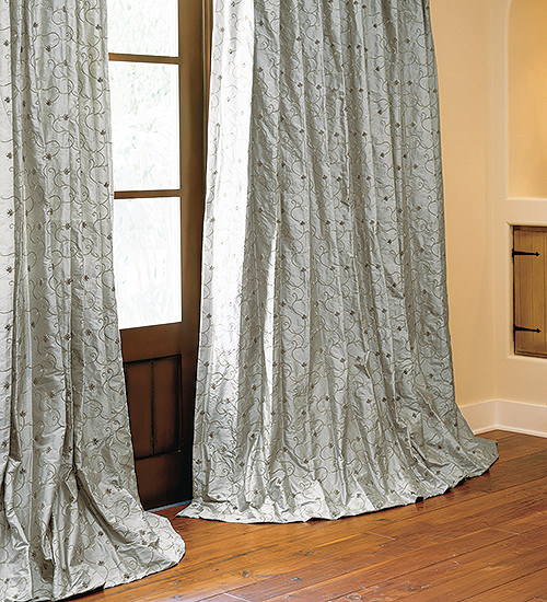 Embroidered Silk Drapes