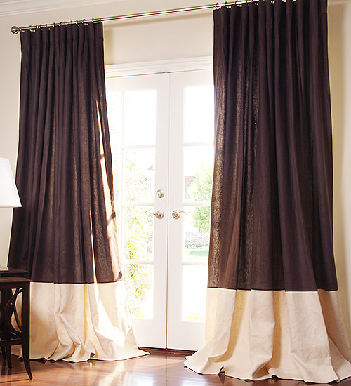 Bordered Linen + Linen Custom Drapes