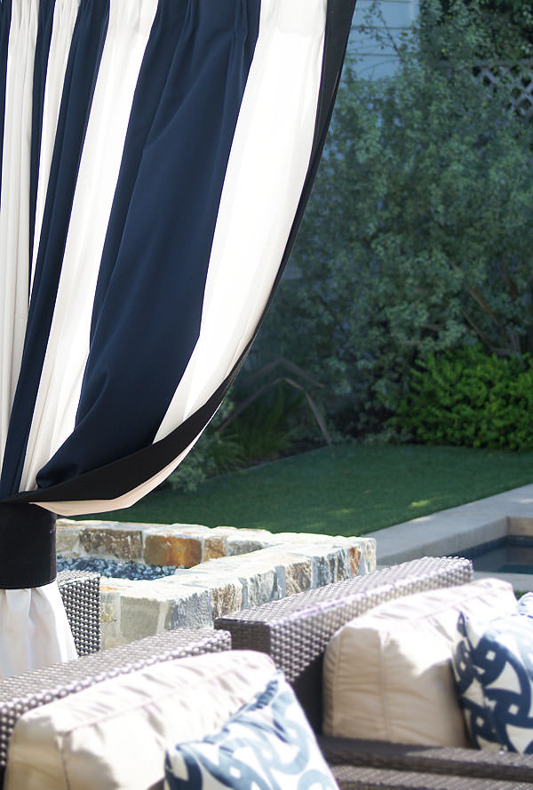 Custom Outdoor Drapery in Sunbrella Cabana Regatta