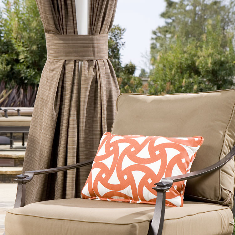 Custom Outdoor Drapes in Sunbrella Walnut Drape with Matching Tie-Back