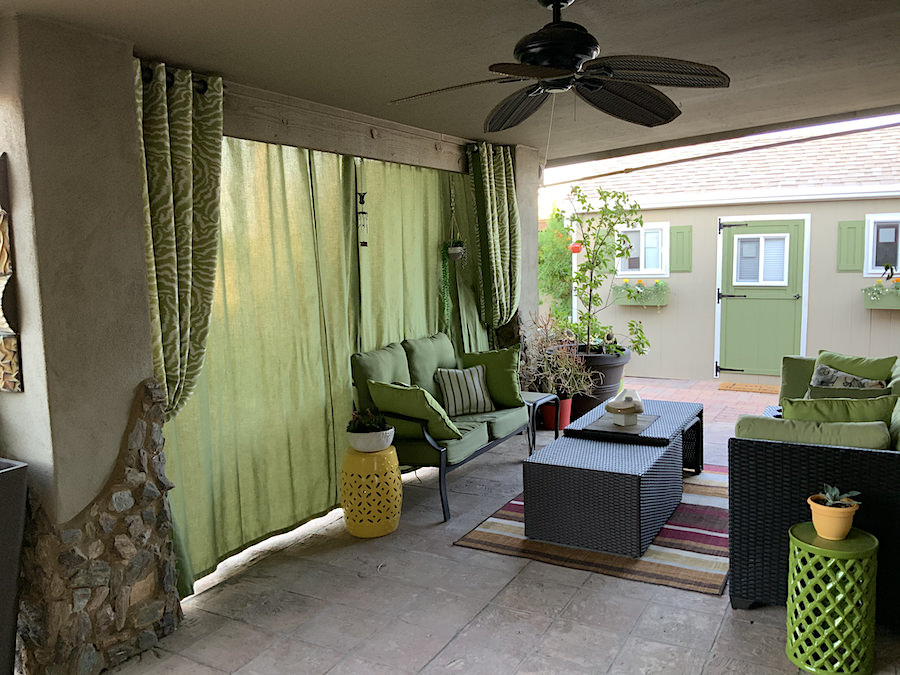 Custom Outdoor Drapes in Sunbrella Ginko with Kendall Wilkinson's Bengal Tiger Grass