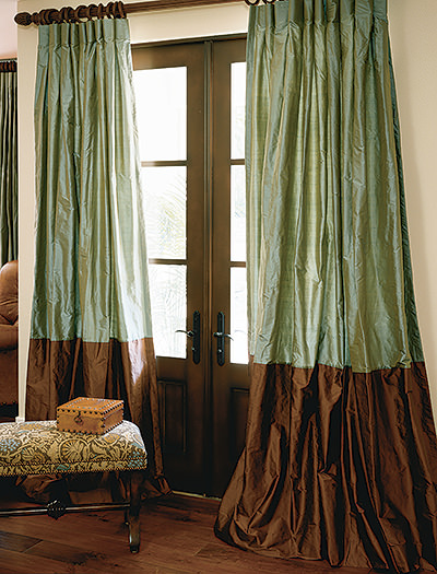 Hand Made Custom Bordered Silk Drapes And Roman Blinds On